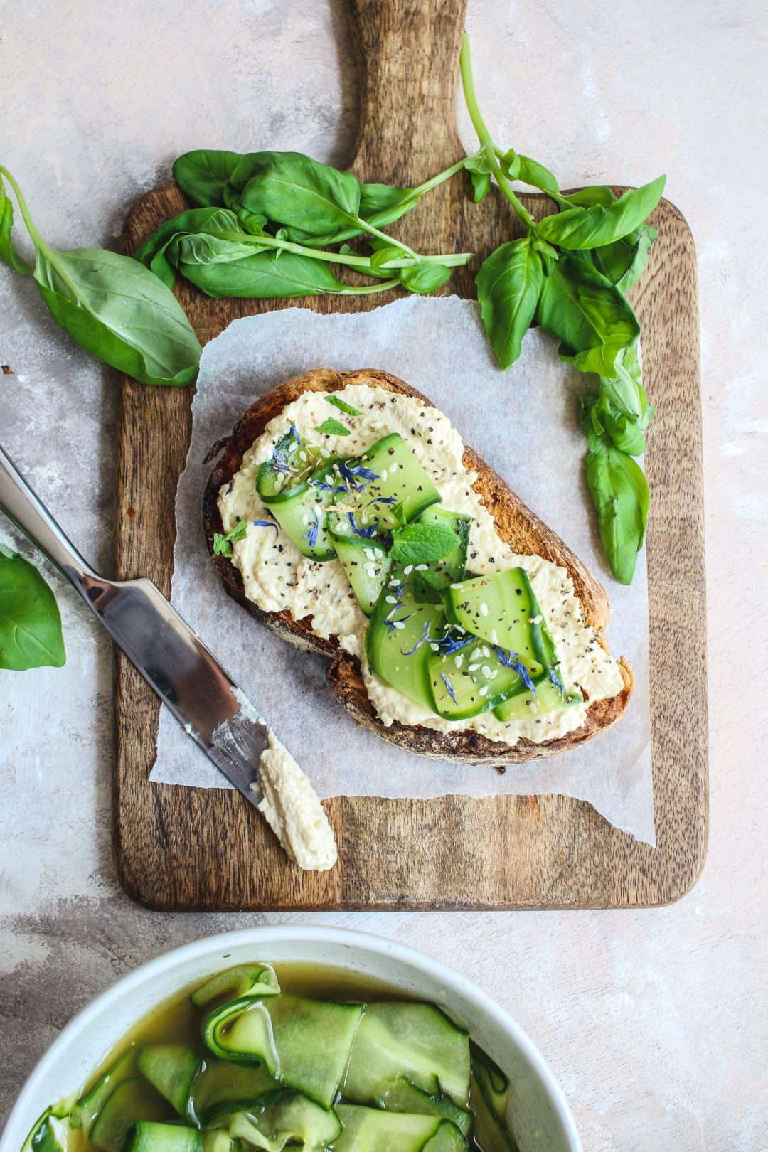 hummus and pickled cucumber toast