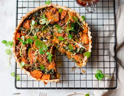 vegan leek and sweet potato tart