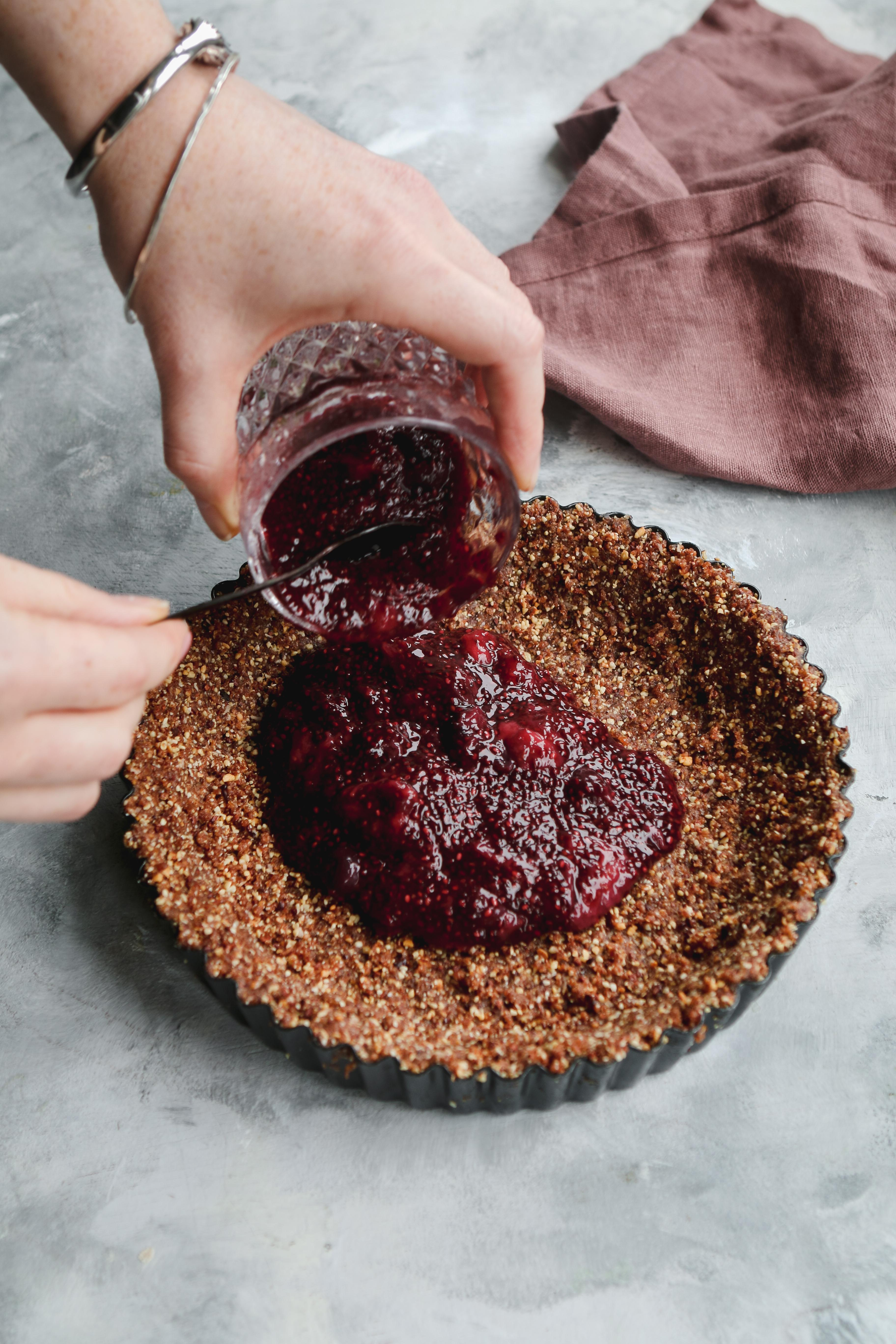 berry chocolate tart vegan gluten free recipe