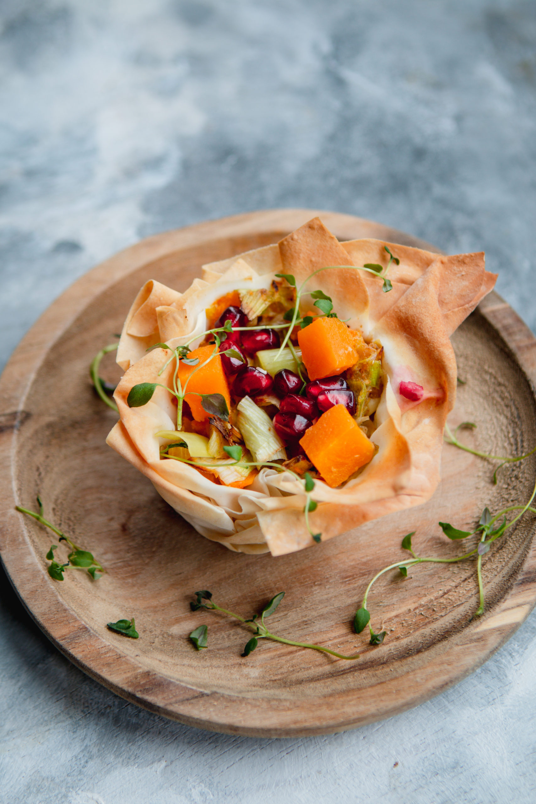 leek and butternut filo tarts vegan