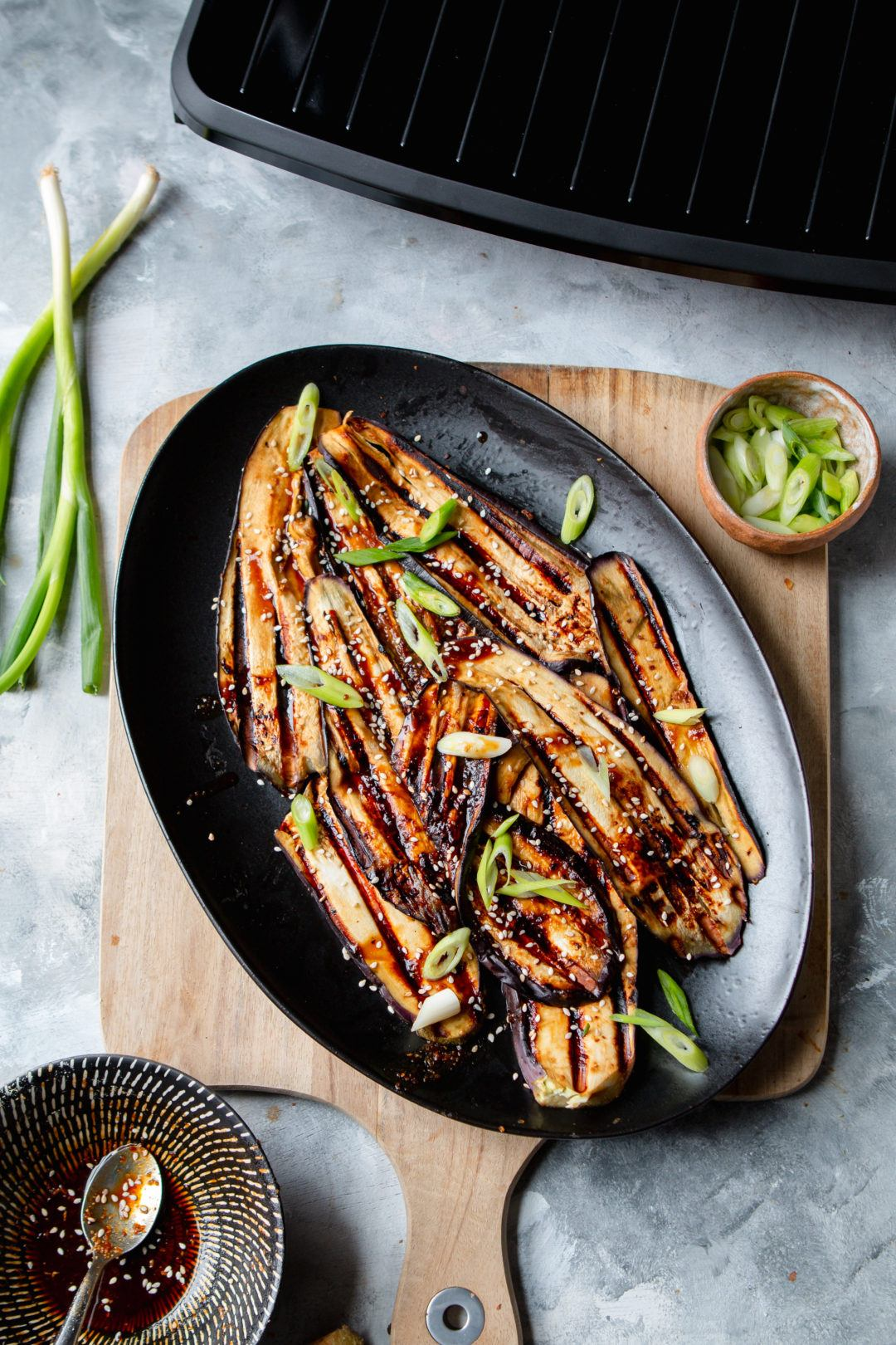 miso glazed aubergine with spring onion