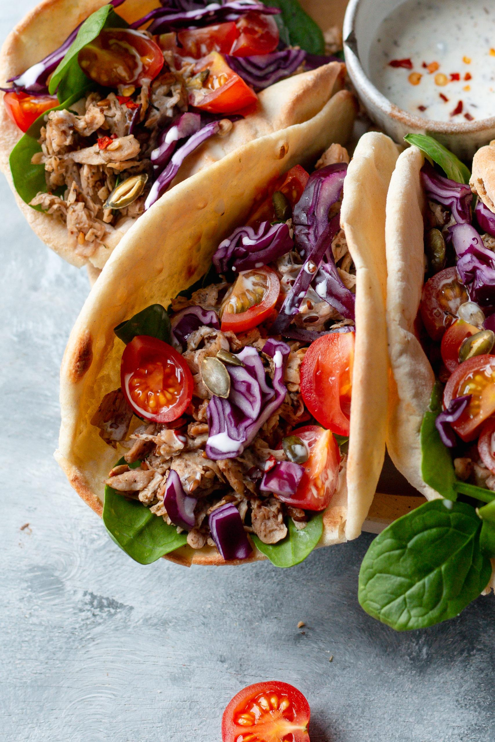 vegan pulled chicken wraps