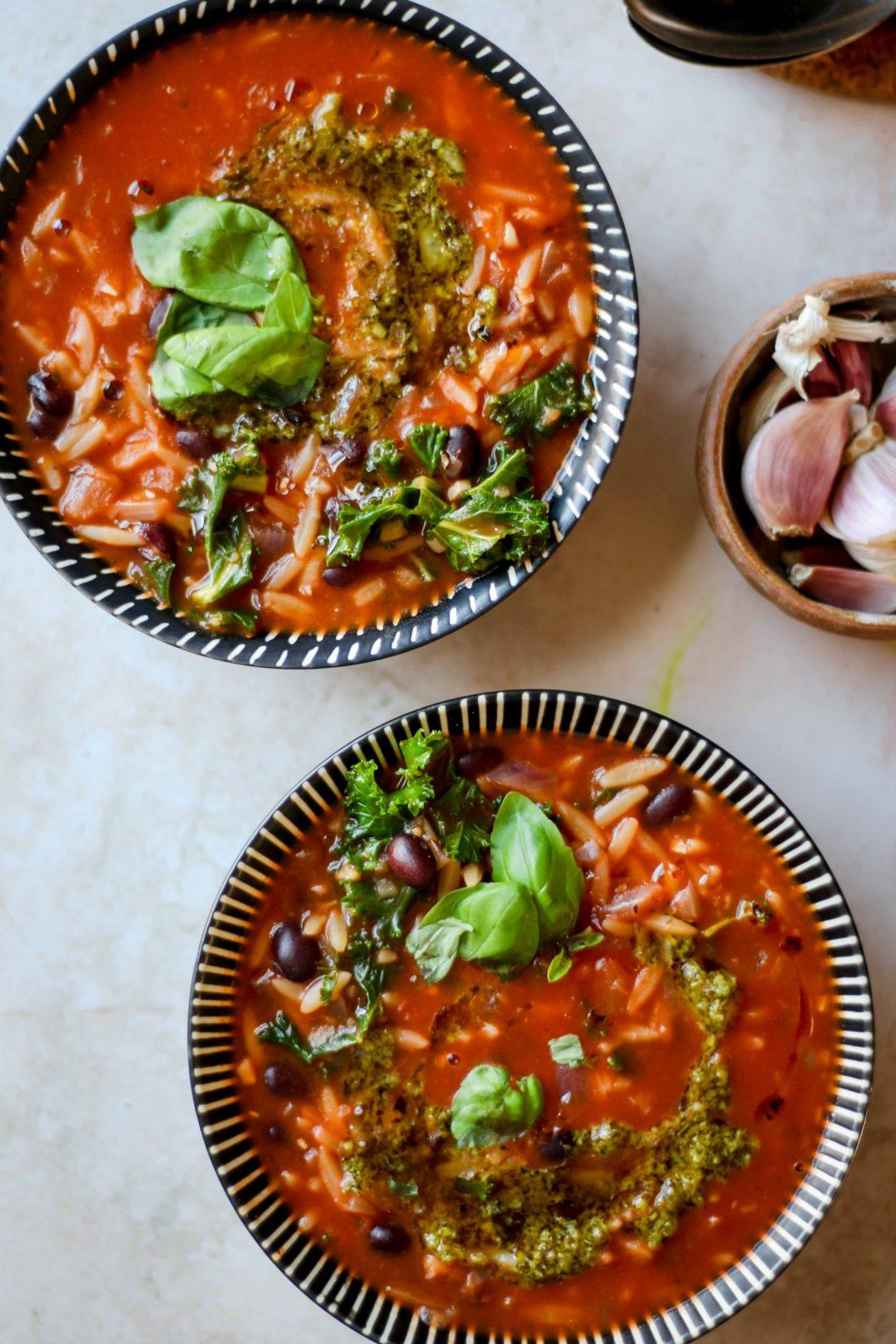 bloody mary orzo soup with kale and pesto
