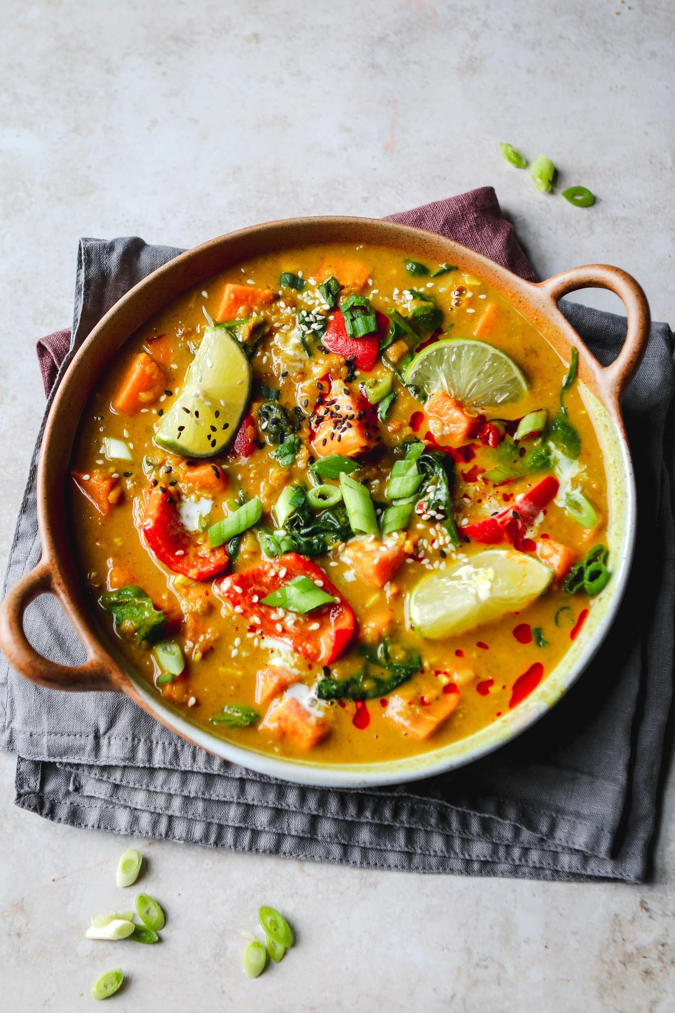 Vegan Massaman Curry with Sweet Potato and Lentil