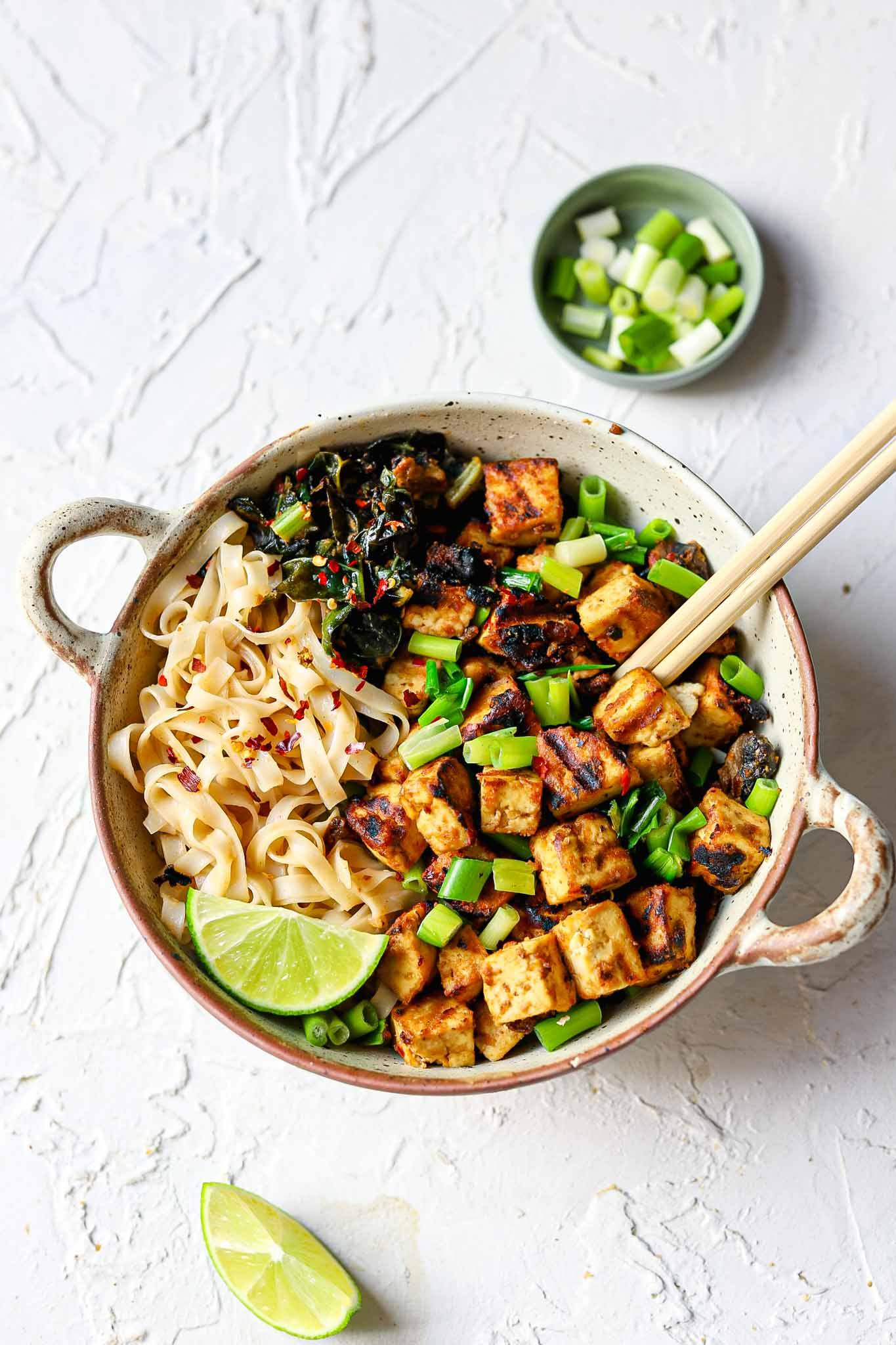 crispy peanut tofu noodle bowl recipe