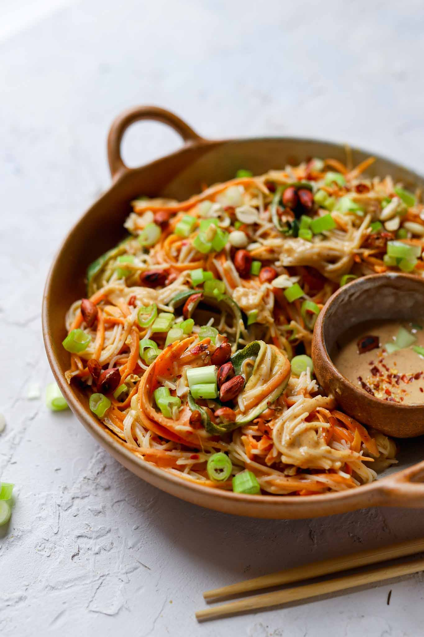 vegetable noodles and peanut dressing