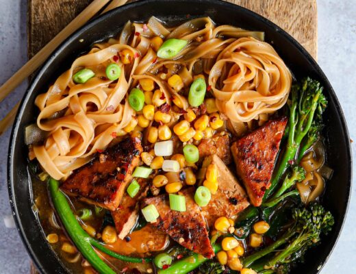 chilli corn and tofu noodle bowl