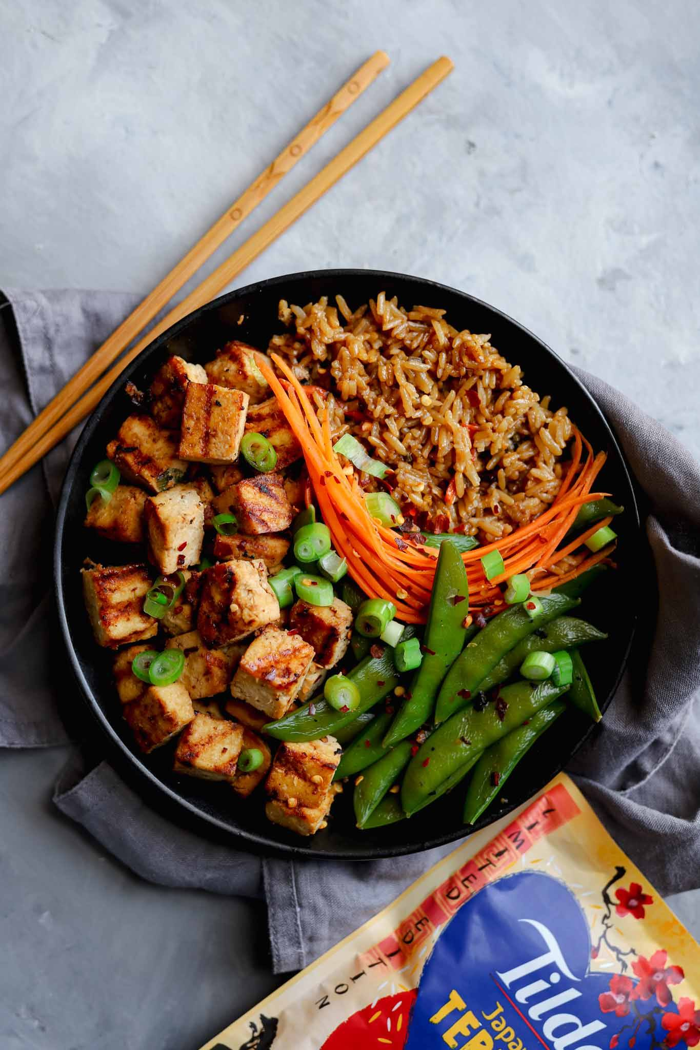 teriyaki rice and tofu bowl