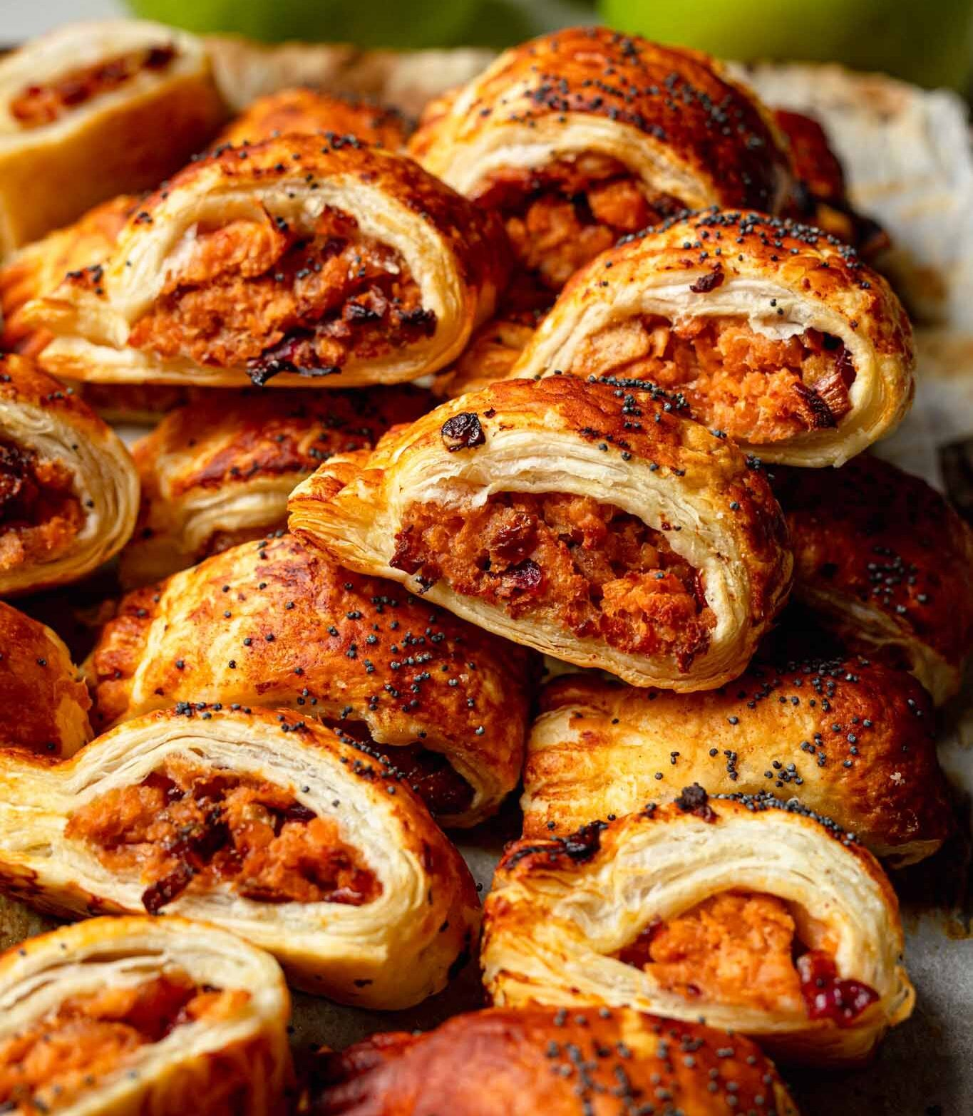 vegan pork and apple sausage rolls
