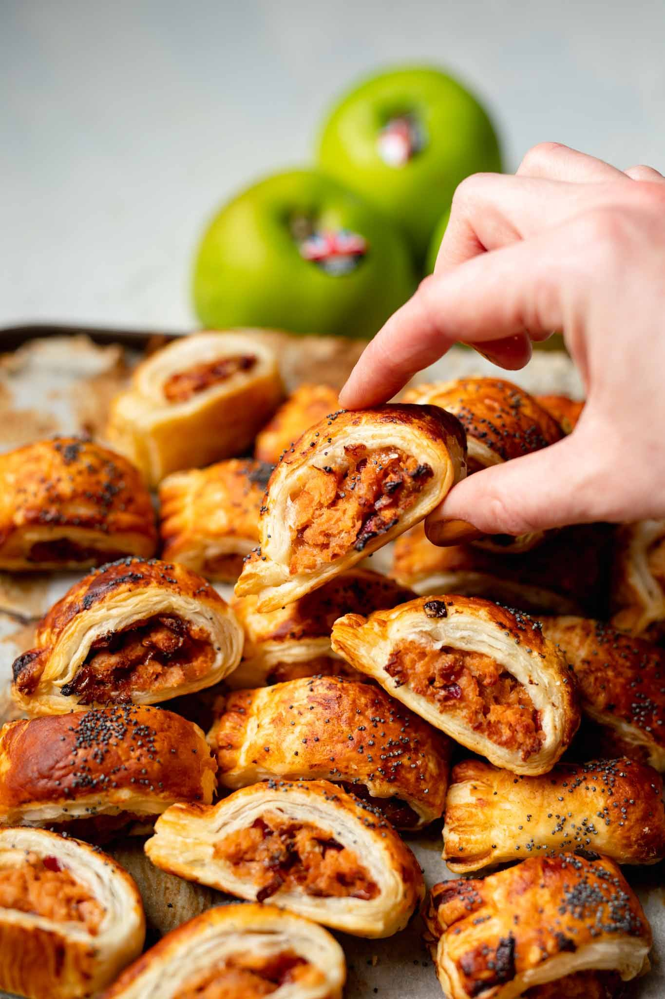 vegan pork and apple sausage rolls