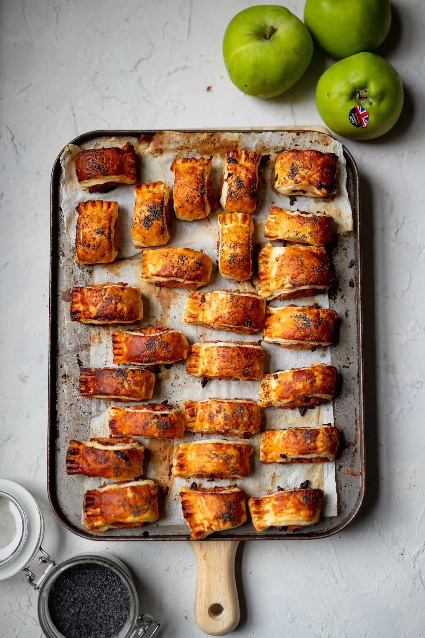 vegan apple and pork sausage rolls