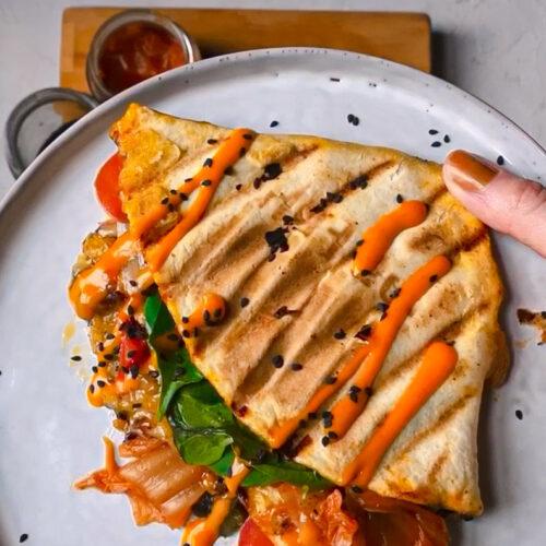 kimchi cheese tortilla hack