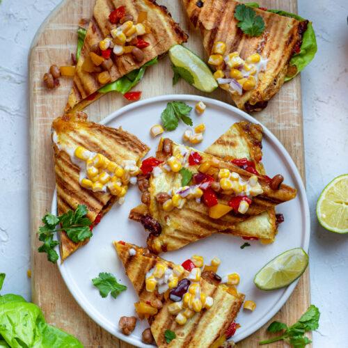 Cheese & Bean Quesadillas vegan recipe