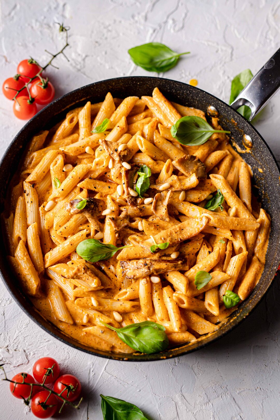 roasted pepper pasta wild mushrooms