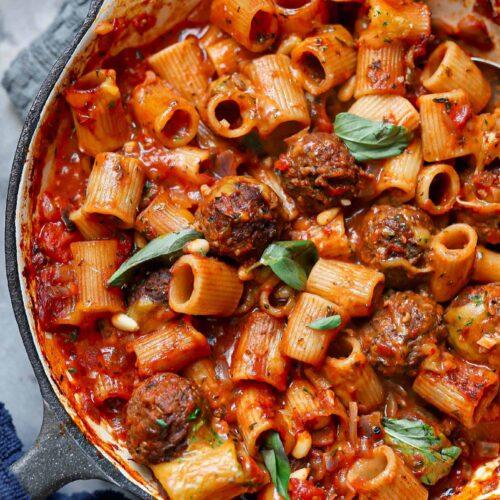vegan meatball pasta bake