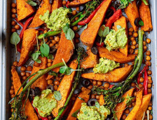 cumin roasted sweet potato and chickpea tray bake