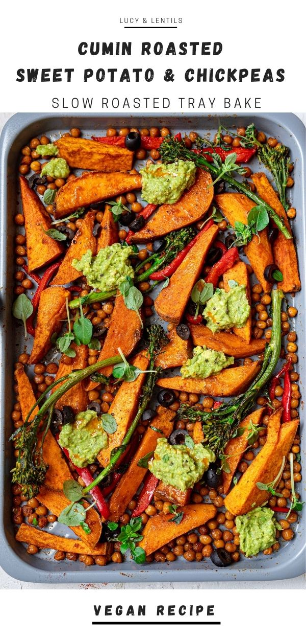 chickpea and sweet potato tray bake