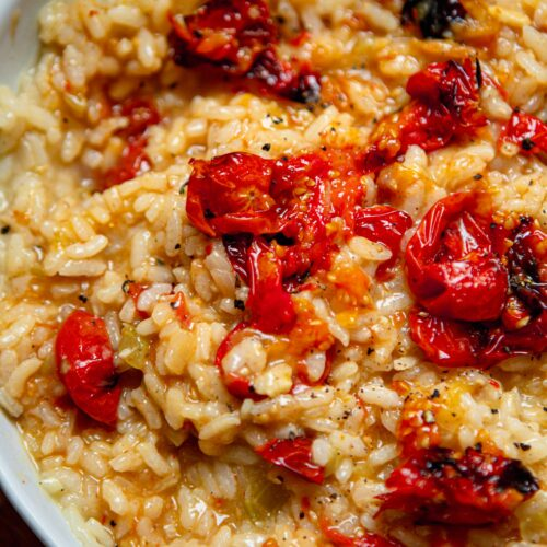 vegan tomato and garlic risotto