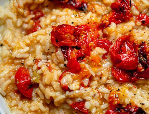 vegan tomato and garlic risotto