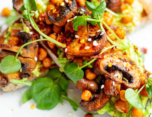 chickpeas mushrooms on toast vegan breakfast