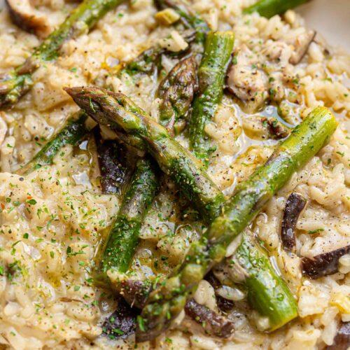 asparagus and shiitake vegan risotto