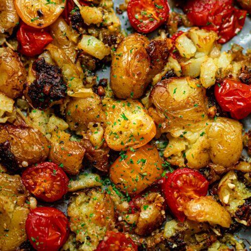 pesto smashed potatoes vegan
