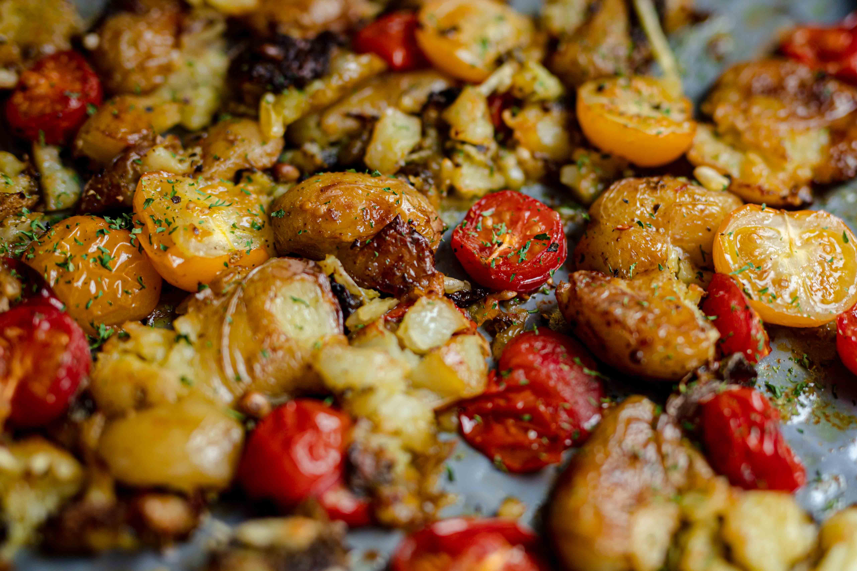 pesto smashed roast potatoes