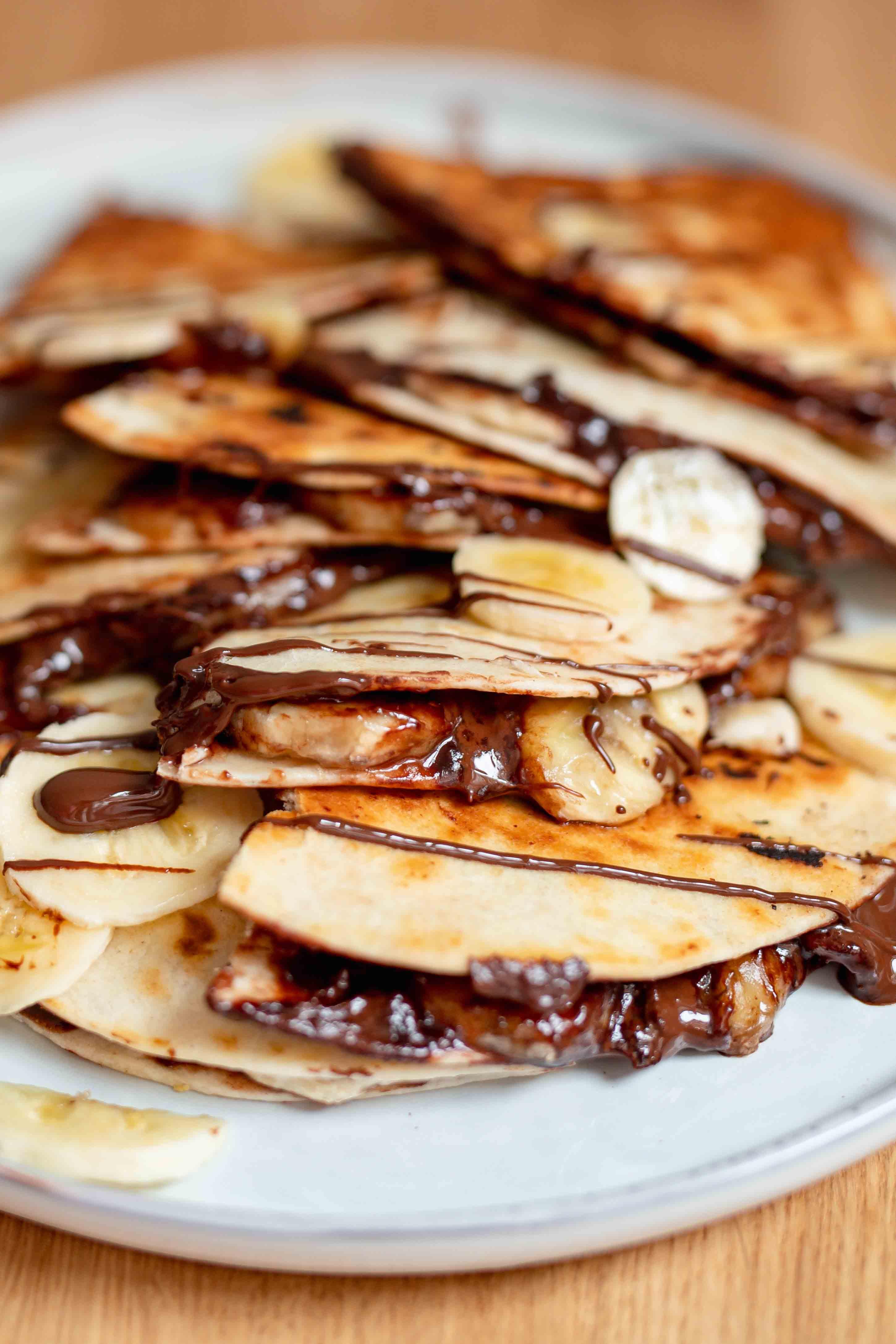 banana and chocolate quesadillas