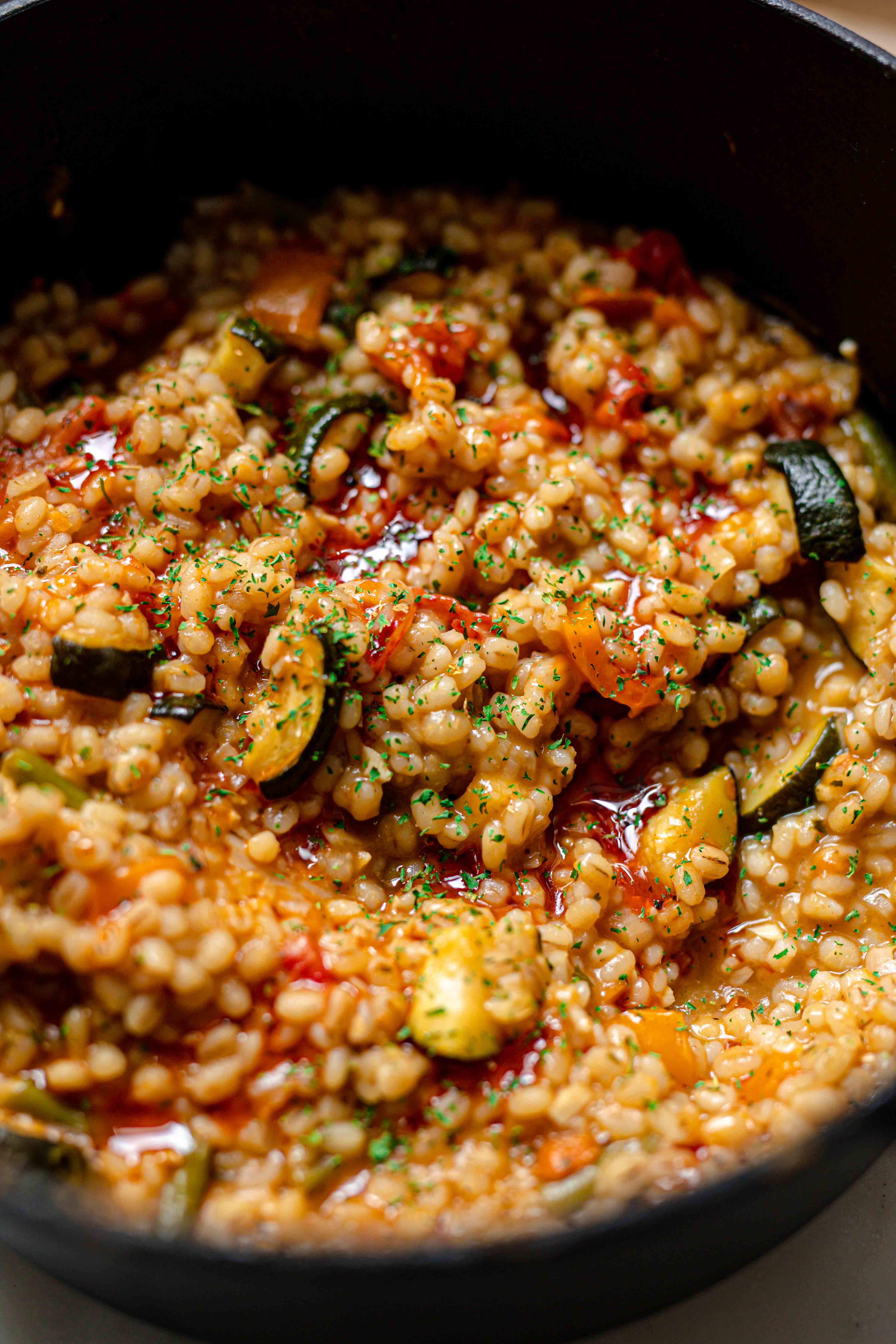 vegan vegetable risotto with bulgar wheat