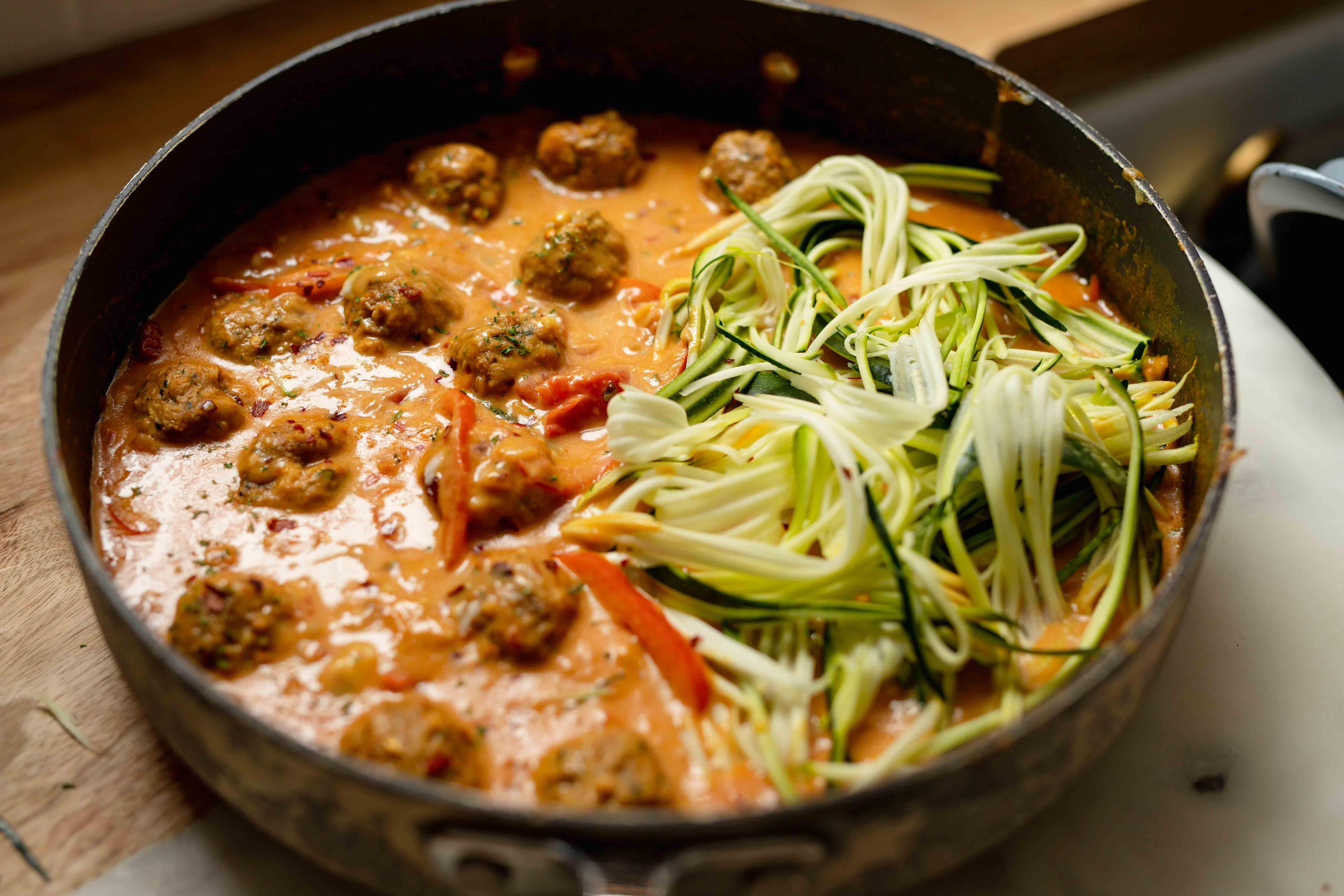 creamy coconut curry with vegan meatballs