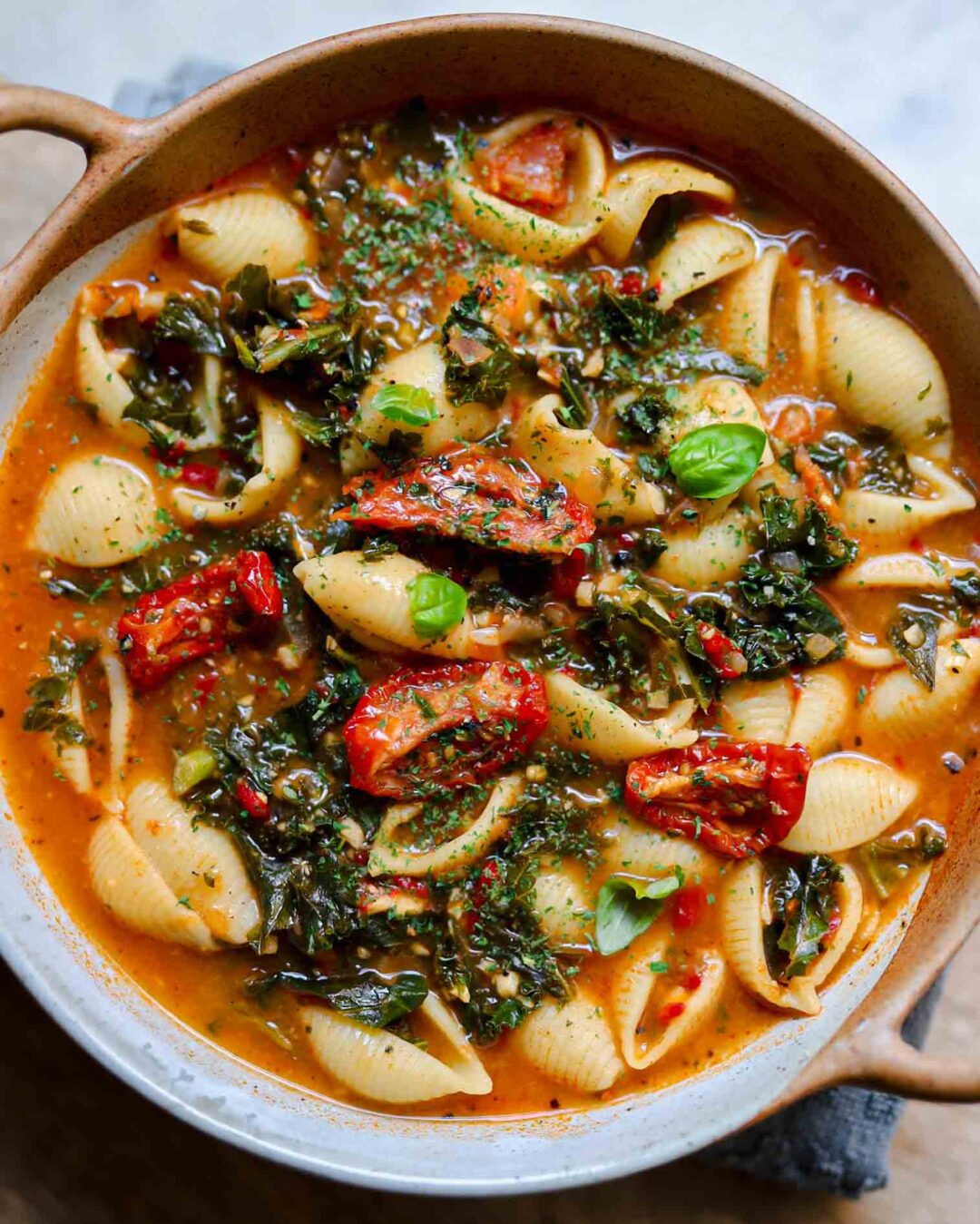 Sun Dried Tomato and Kale Pasta Soup